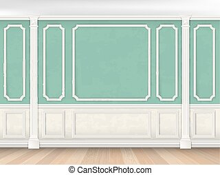 Green wall with pilasters - Green wall interior in classical...