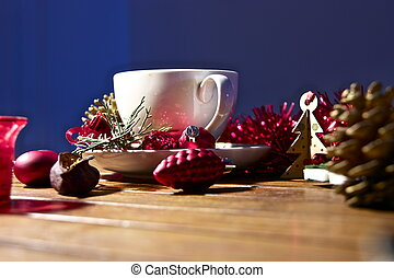 Christmas tea-party. - A Christmas tea-party still-life in...