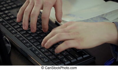 Man hands typing on computer keyboard - Man hands typing on...