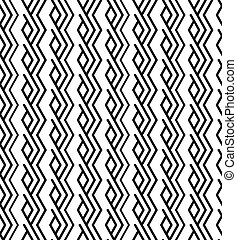 Monochrome zigzag abstract textured geometric seamless pattern. Symmetric black and white vector textile backdrop.