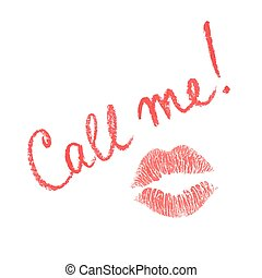 Vector lipstick note Call me - Vector note written in...