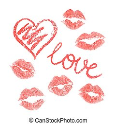 Vector set of lips prints on white background
