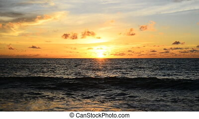 sunset at the beach in evening