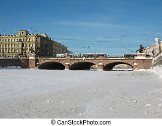 Frozen River Fontanka. St.Petersburg