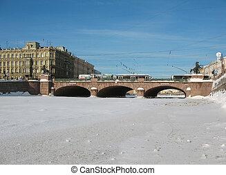 Frozen River Fontanka. St.Petersburg