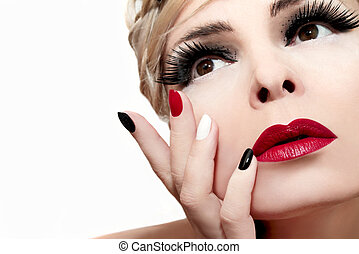 Red lips. - Makeup with red lips,bushy eyebrows,false...