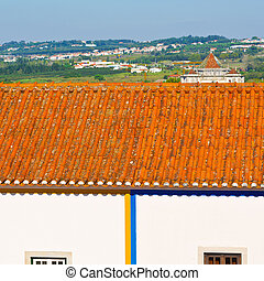 Tile Roof in the Historic Center City of Obidos in Portugal