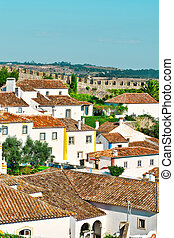 Historic Center - View to Historic Center City of Obidos in...