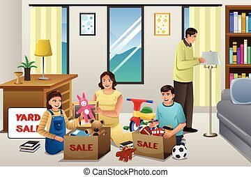 Family Sorting Items for a Garage Sale