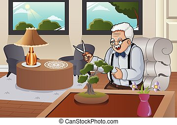 Old Man Taking Care Bonsai - A vector illustration of old...