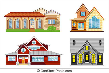 House illustration set, four flat colored houses on white...
