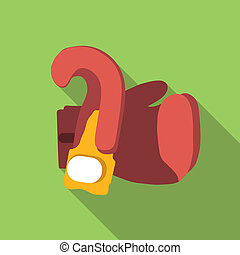 Boxing gloves flat icon, colored flat image with long shadow...