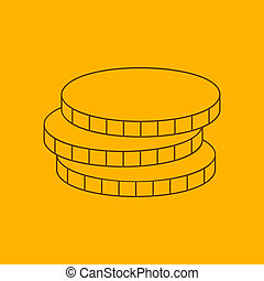 Coins line icon, thin contour on yellow background