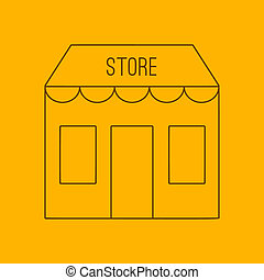 Store building line icon, thin contour on yellow background