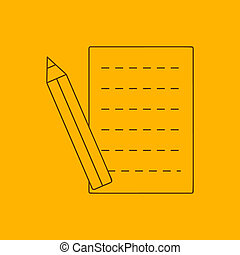 Pencil and sheet line icon, thin contour on yellow...