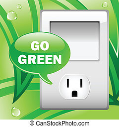 Go Green Electric Outlet with leaves background. Editable...