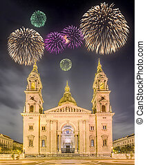 Beautiful fireworks above St. Stephen's Basilica and square...
