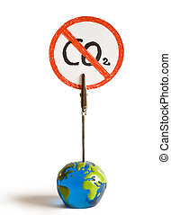 no more co2 - the globe says no more co2 on a white...