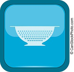 Colander icon on a blue background