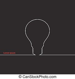 Advertising card with lightbulb, vector illustration