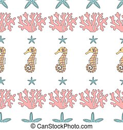 Seamless pattern of  starfish,coral and seahorses.