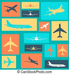 Set of different colored airplane signs