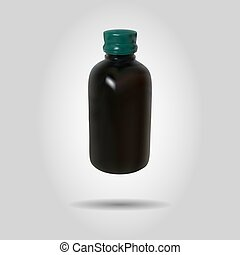 Realistic brown bottle, vector illustration
