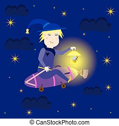 Witch flying at night on the vacuum cleaner, vector...