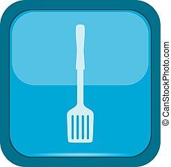 Spatula icon on a blue button