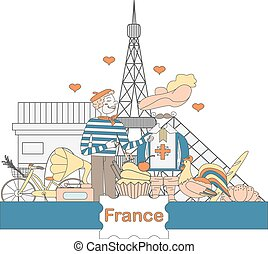 Set of thematic elements of France - A set of thematic...