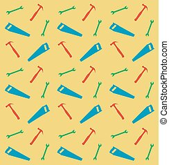Pattern of spanner, saw and hummer, vector illustration
