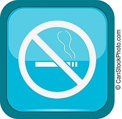 No smoking sign on a blue button, vector illustration