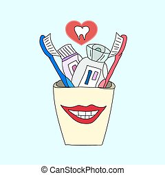 Toothbrushes and toothpaste in a glass