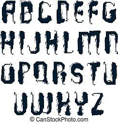 Vector stylish brush uppercase letters, handwritten font,...