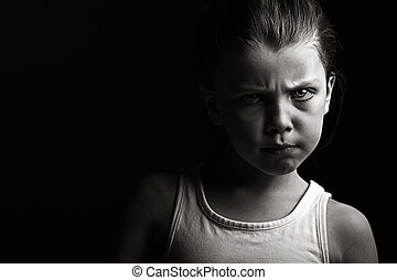 Low Key Shot of a Child with Attitude - Powerful Low Key...