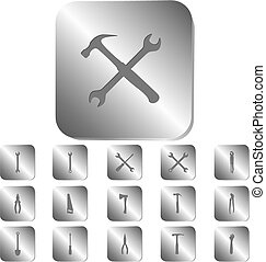 Tools icons on a steel button, vector illustration