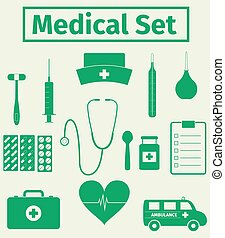 Medical icons set, vector illustration