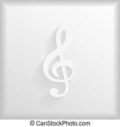 Paper treble clef silhouette, vector illustration