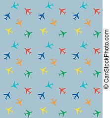 Pattern with colored airplanes
