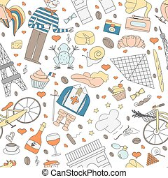 Seamless patternof thematic elements of France - A seamless...