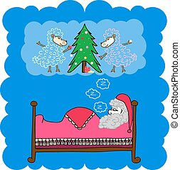 Santa Claus dream sheep, vector illustration