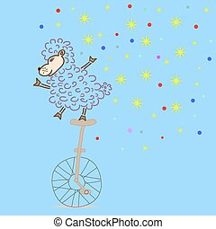Sheep ridding a bike, vector illustration