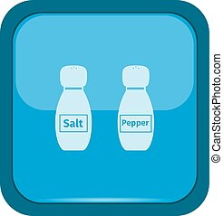Salt and pepper icons on a blue button