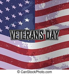Veterans day banner on American flag, vector illustration