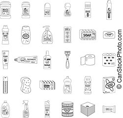 Cleanser and washing line icons set, vector illustration