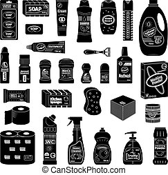 Cleanser and washing line icons set - Cleanser and washing...