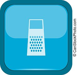 Grater icon on a blue button