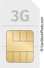 Sim card on a white background with shadow