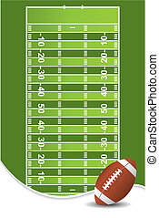 American football background with ball and copy space