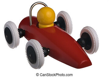 Childs red toy race car, isolated on white background